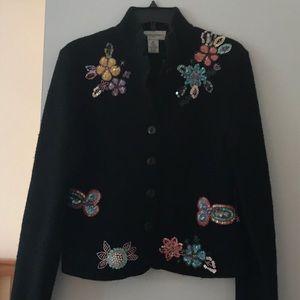 Bloomingdales wool jacket with beautiful appliqué